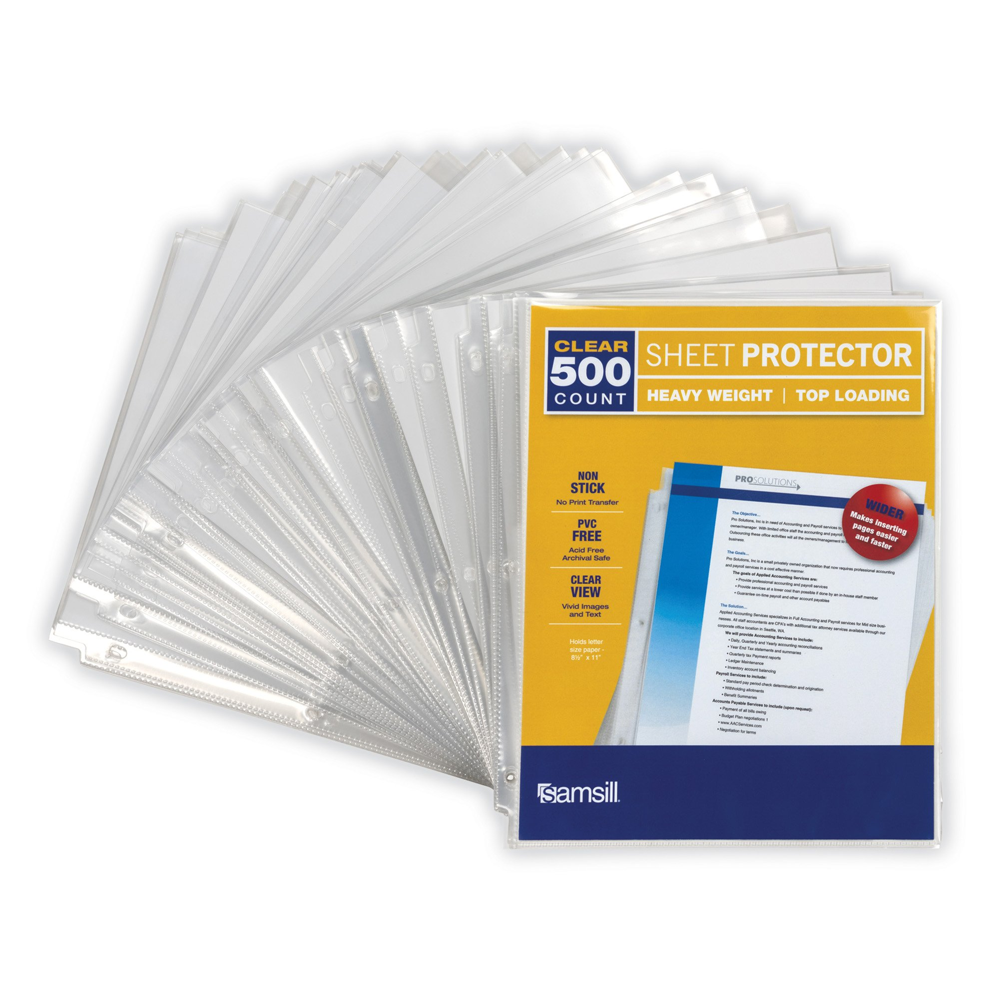 """Samsill Clear Heavyweight 3.3 MIL Thickness, Top Loading Reinforced 3 Hole Punched Sheet Protectors, Archival Safe Won't Harm Photos or Printed Copy, for 8.5 x 11"""" Documents, Box of 500, Acid Free"""