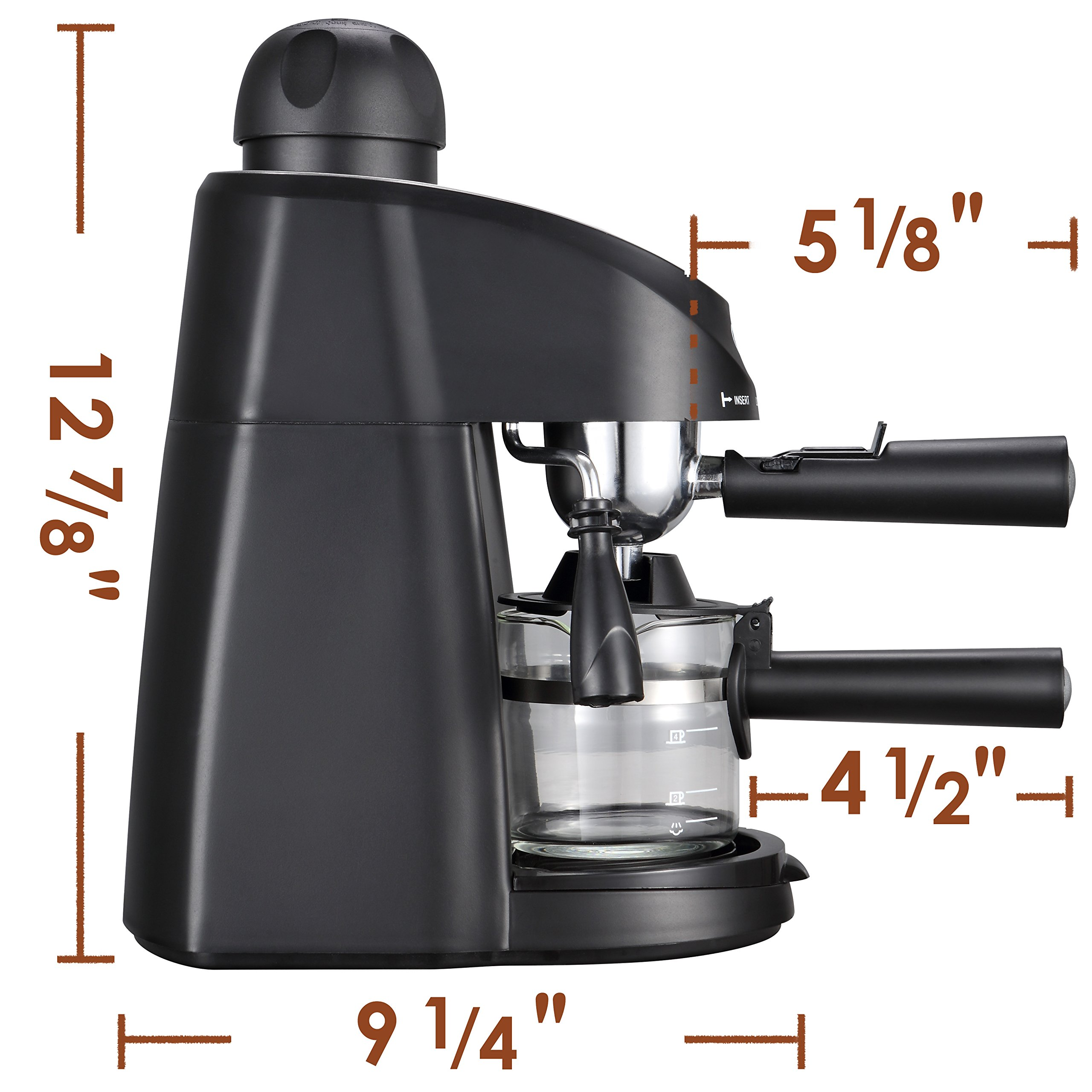 Miho CM-01A Espresso Machine 3.5 Bar Steam Cappuccino and Latte Maker Compact Design Milk Frother 4 Cups Coffee Capacity Electric 800W by Miho (Image #4)