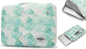 """Kinmac 360° Protective 13 inch-13.5 inch Waterproof Laptop Case Bag Sleeve with Handle for 13.3"""" MacBook Air   13"""" MacBook Pro Retina and 13.3 inch 13.5 inch Laptop (Green Leaf)"""