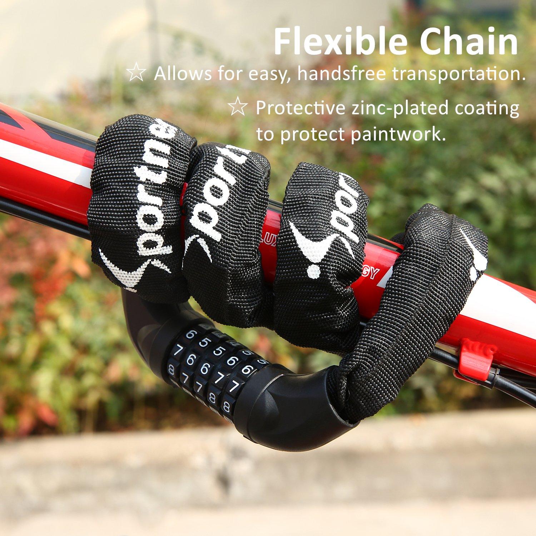 Sportneer Bicycle Chain Lock, 5-Digit Resettable Combination Anti-theft Bike Locks by Sportneer (Image #6)