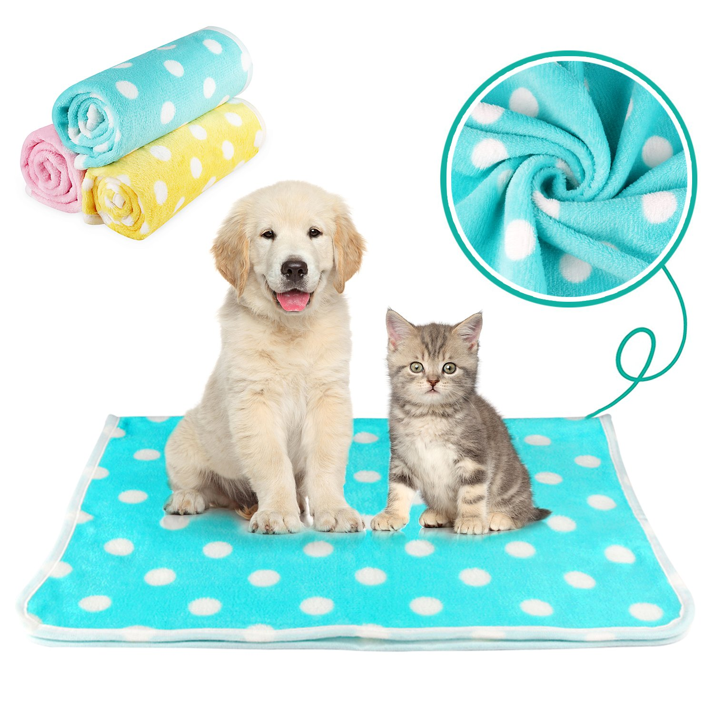 KAISHUITANGJIBA Premium Pet Dog Blanket, 3 Colors Super Soft Fleece Fabric Pet Blankets for small Dog Puppy Cat