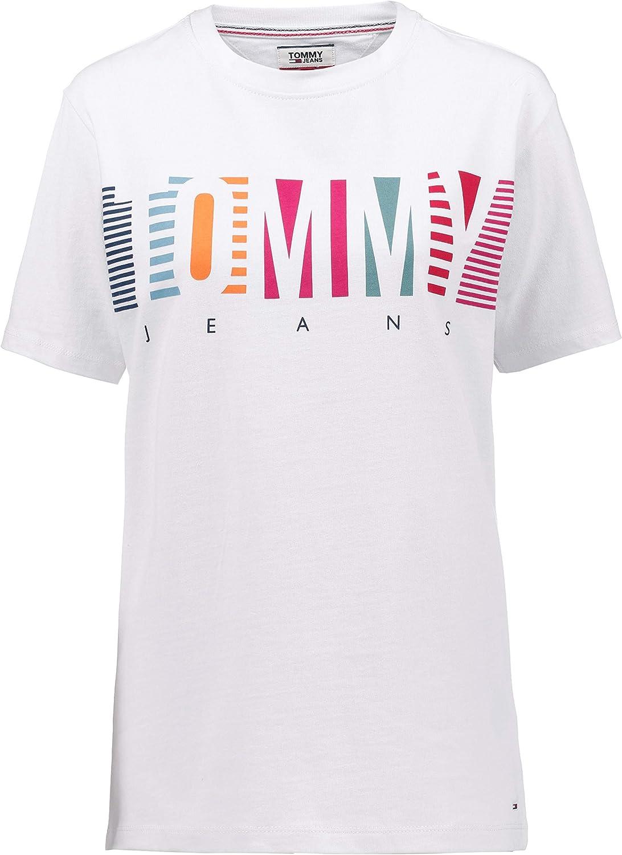 Tommy Jeans – Camiseta de mujer blanca con logotipo de manga corta Bianco Classico XL: Amazon.es: Ropa y accesorios