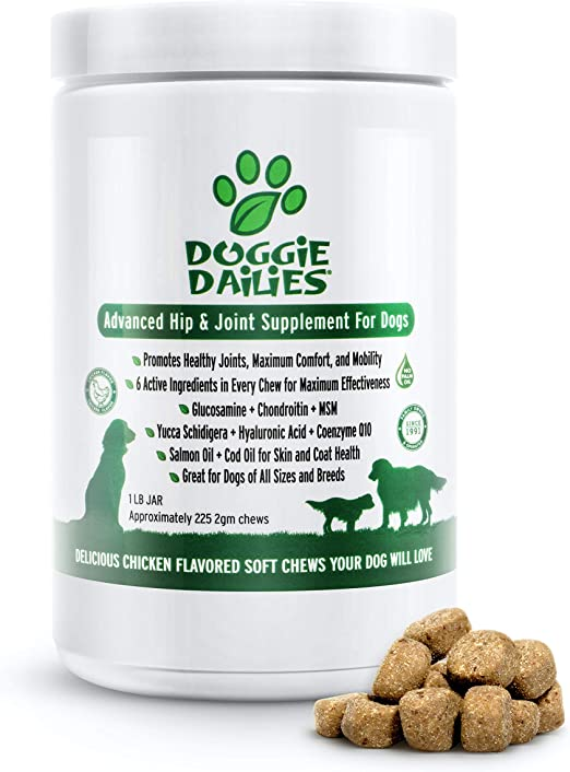 Doggie Dailies Glucosamine for Dogs, 225 Soft Chews, Advanced Hip and Joint Supplement for Dogs with Glucosamine, Chondroitin, MSM, Hyaluronic Acid and CoQ10, Premium Dog Glucosamine