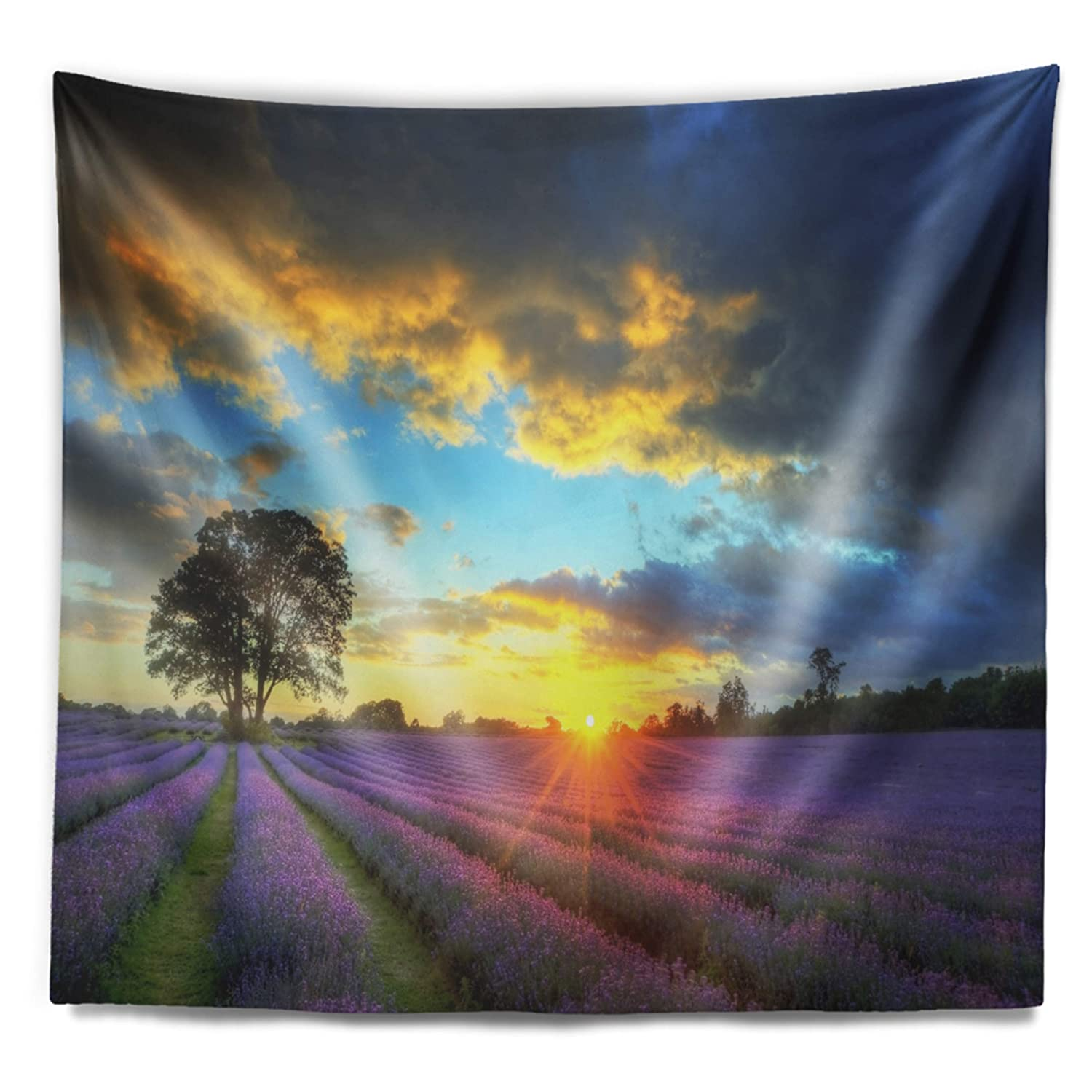 80 in x 68 in in Designart TAP12378-80-68  Colorful Sky Over Vibrant Lavender Field Floral Blanket D/écor Art for Home and Office Wall Tapestry x Large