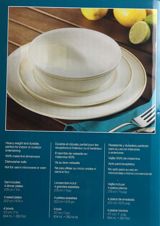 Vajilla de melamina de 12 piezas, color blanco roto (esmaltado ...
