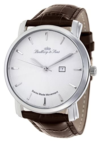 Lindberg & Sons - Reloj con movimiento de cuarzo hecho en Suiza para hombre, esfera