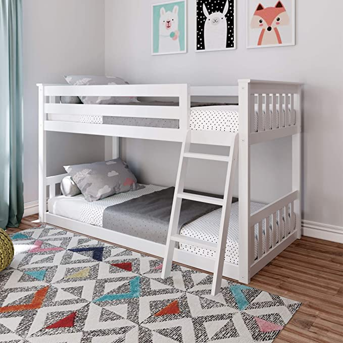 Max Lily Twin Over Twin Low Bunk Bed White Amazon Co Uk Kitchen Home