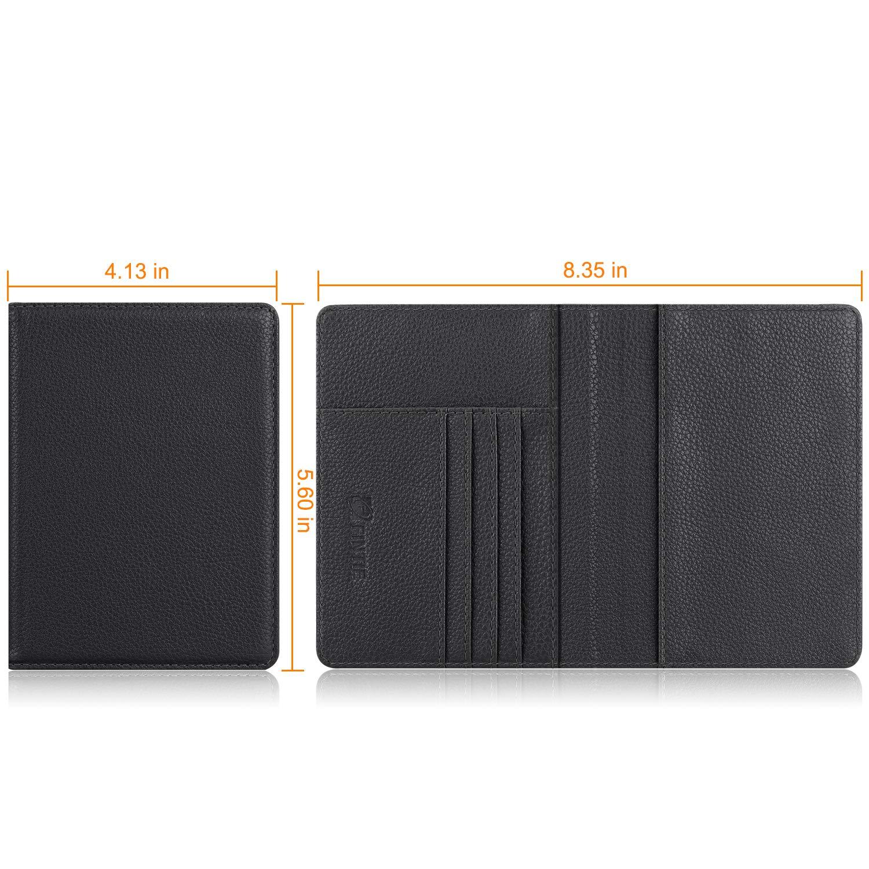 Fintie Passport Holder Travel Wallet RFID Blocking PU Leather Card Case Cover, Black by Fintie (Image #5)
