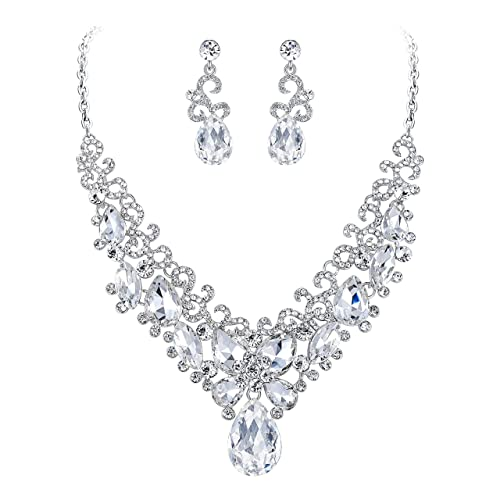 Original Silver Tone Crystal Jewelry Set Clear Crystal Marquise Design 3 Row Prom Formal Engagement & Wedding