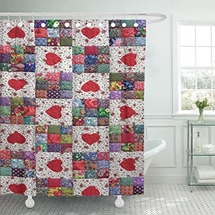 Image Unavailable Not Available For Color TOMPOP Shower Curtain Patchwork