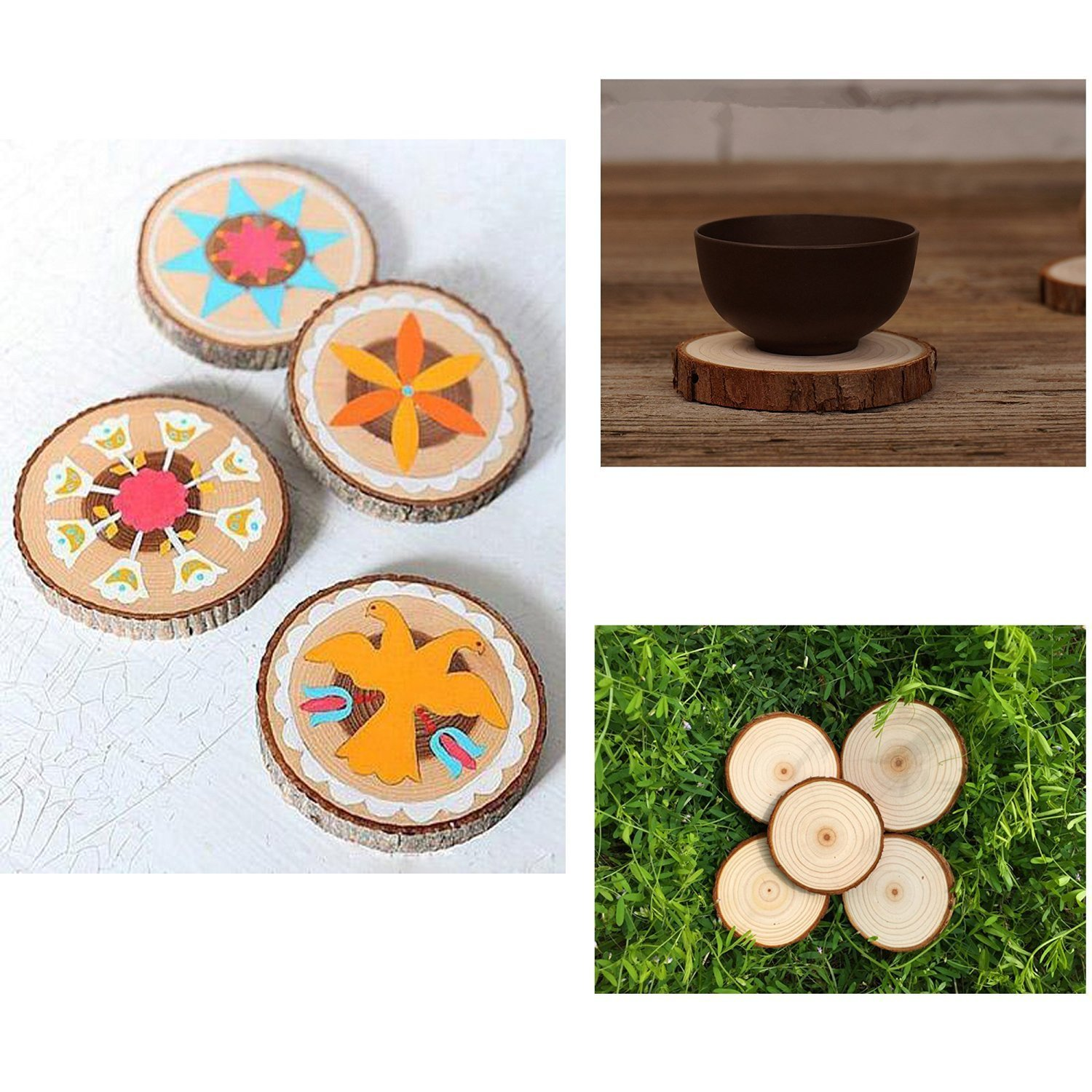 COCO Unpainted Natural Round Blank Wood Slices with Tree Bark Log Discs for DIY Craft Woodburning Christmas Rustic Wedding Ornaments 20-25cm/8''-10'' (Pack of 1 pcs)