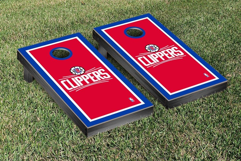 Los Angeles LA Clippers NBA Basketball Cornhole Game Set Border Version by Victory Tailgate