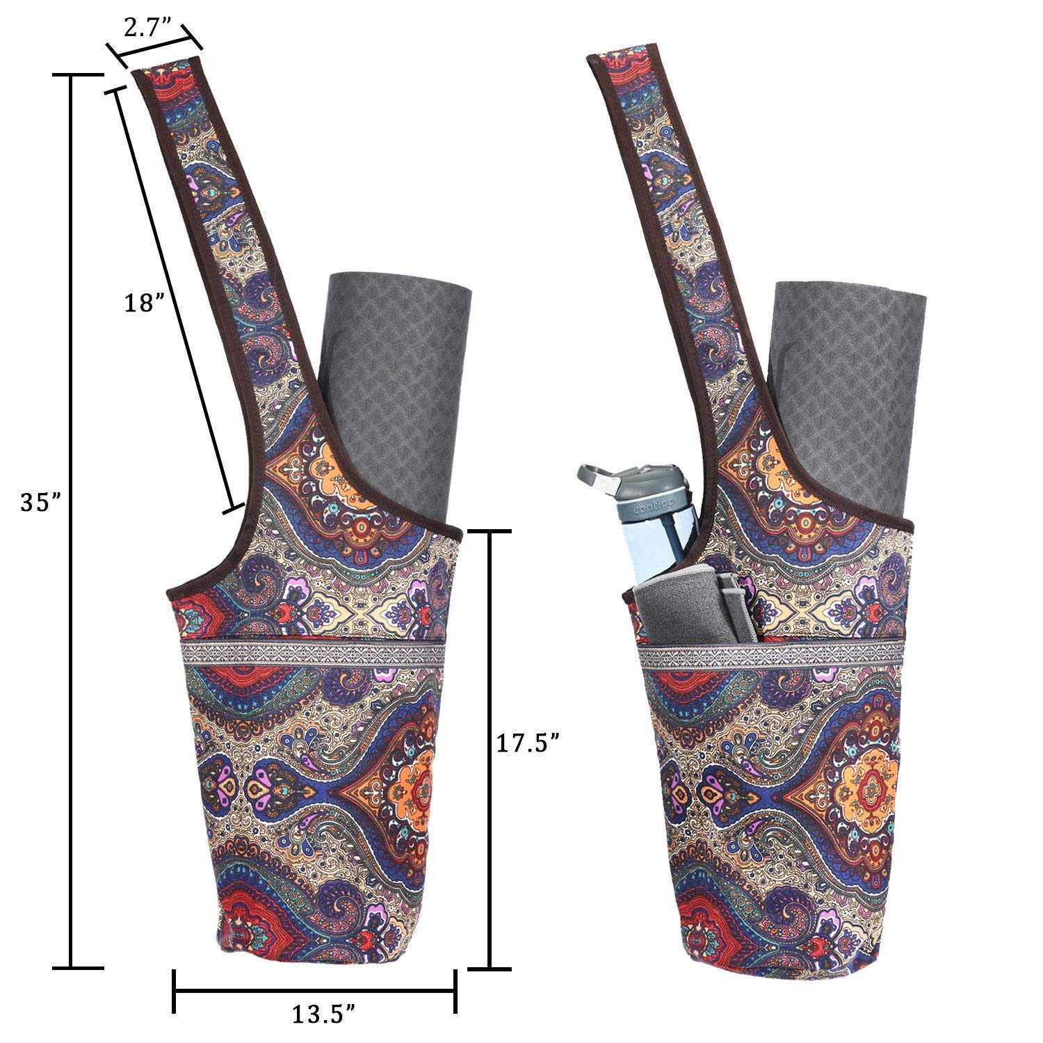 Hothuimin Yoga Mat Bag,Yoga Mat Tote Sling Carrier with Large Size Pocket and Zipper Pocket Fit Most Size Mats