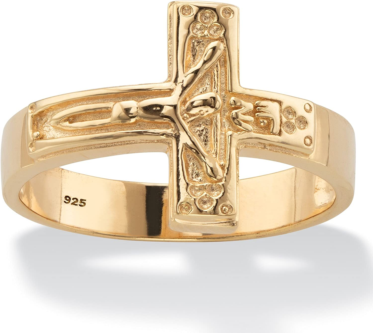 Men's 14K Yellow Gold over Sterling Silver Horizontal Crucifix Cross Ring
