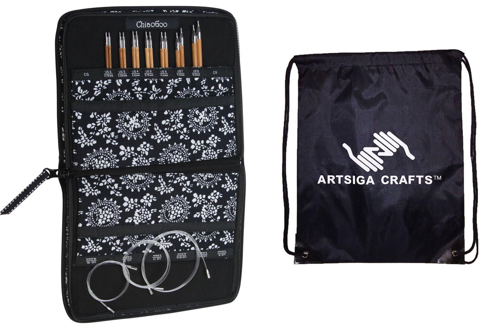 ChiaoGoo Spin Interchangeable Knitting Needle Set Small Needles: Size US 2 (2.75mm)-Size US 8 (5mm) Bundle with 1 Artsiga Crafts Project Bag 2500-S by ChiaoGoo Knitting Needles (Image #1)