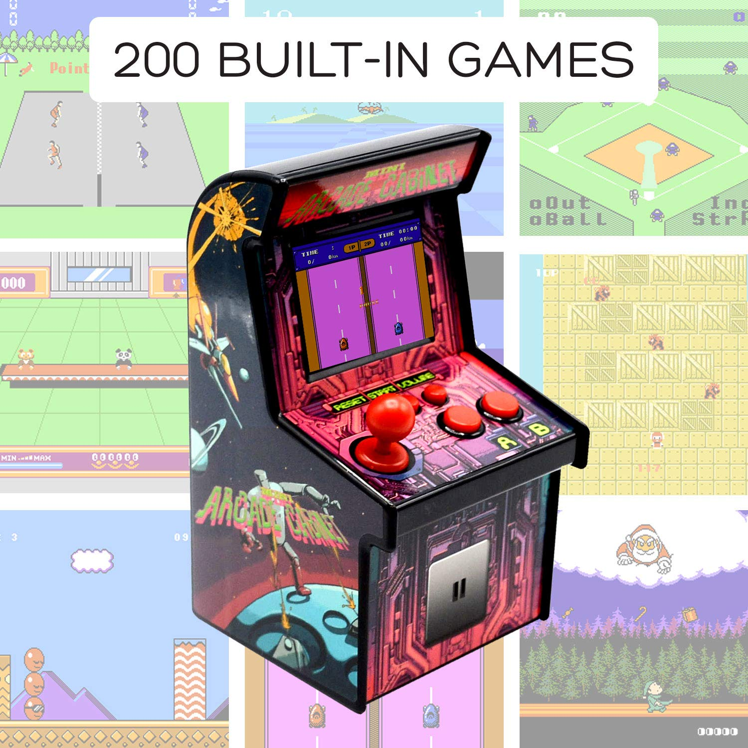 Funderdome Battery Powered Mini Arcade Game, Arcade Machine, Retro Tiny Video Game Arcade Cabinet, Portable Electronic Handheld Gaming Console for Kids with 200 Classic Video Games by Funderdome (Image #2)