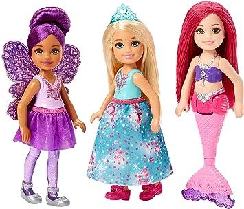 Amazon.es: Mattel Barbie Dreamtopia-Pack de 3 muñecas Chelsea Sirena, Hada y Princesa, Multicolor FPL86: Juguetes y ...