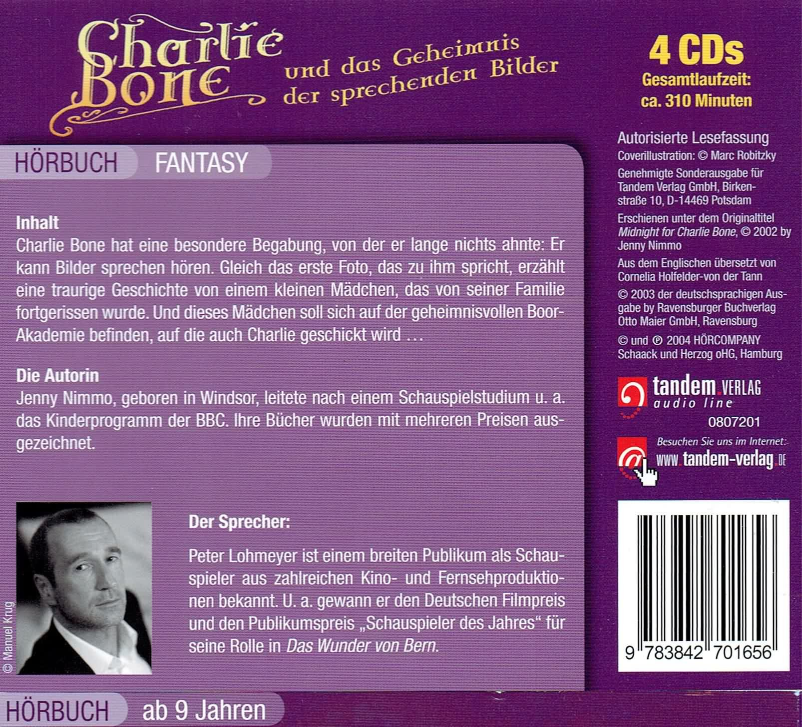 Charlie Bone Und Das Geheimnis Der Sprechenden Bilder: 4 Cds: Amazon: Jenny  Nimmo, Peter Lohmeyer: B�cher