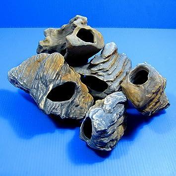 Lote de 5 piezas de piedras de lujo MF para cíclidos, decoración para acuario, roca de cerámica, cueva, Adorno para tanque de peces: Amazon.es: Productos ...