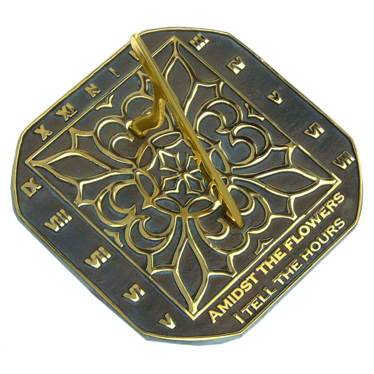 Rome 2375 Romanesque Sundial, Solid Brass with Verdigris Highlights, 8.5-Inch Diameter