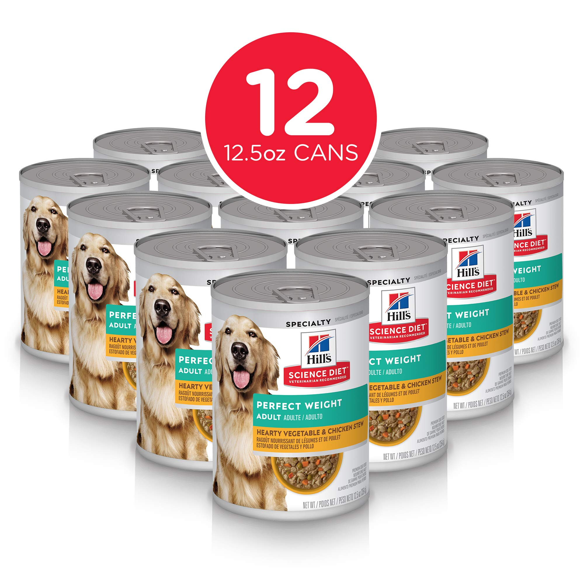 Hill's Science Diet Wet Dog Food, Adult, Perfect Weight for Weight Management, Hearty Vegetable & Chicken Stew Recipe, 12.5 oz Cans, 12-pack by Hill's Science Diet