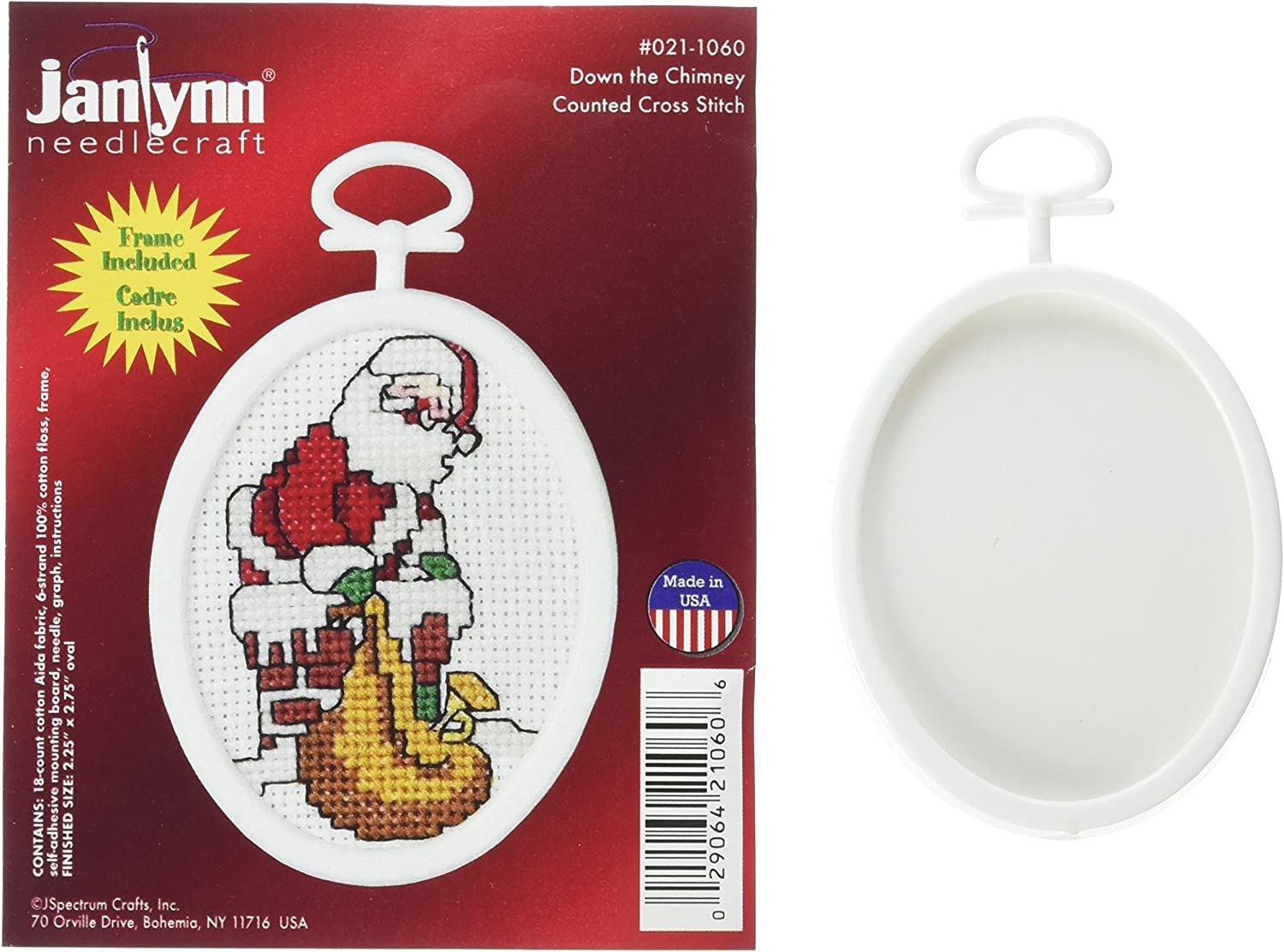 Janlynn Down The Chimney Mini Counted Cross Stitch Kit-2-1/2 X2-3/4 Oval 18 Count