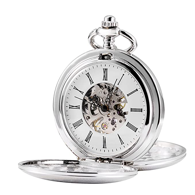 treeweto Doble Abierto Esqueleto Reloj de Bolsillo mecánico Mano Viento Full Hunter Reloj, Plata