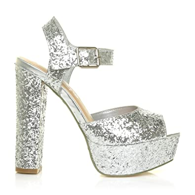 dd3dea59a001 ShuWish UK Ariel Silver Glitter High Block Heel Platform Peep Toe Ankle  Strap Sandals  Amazon.co.uk  Shoes   Bags