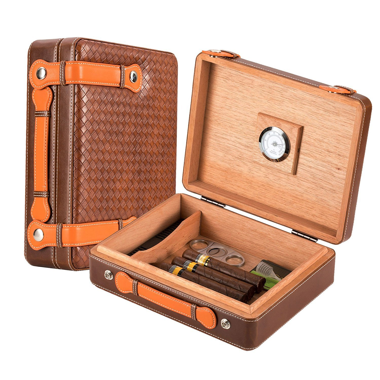 Scotte Portable cigars humidors wood & leather handheld cigar humidors travel cigar box