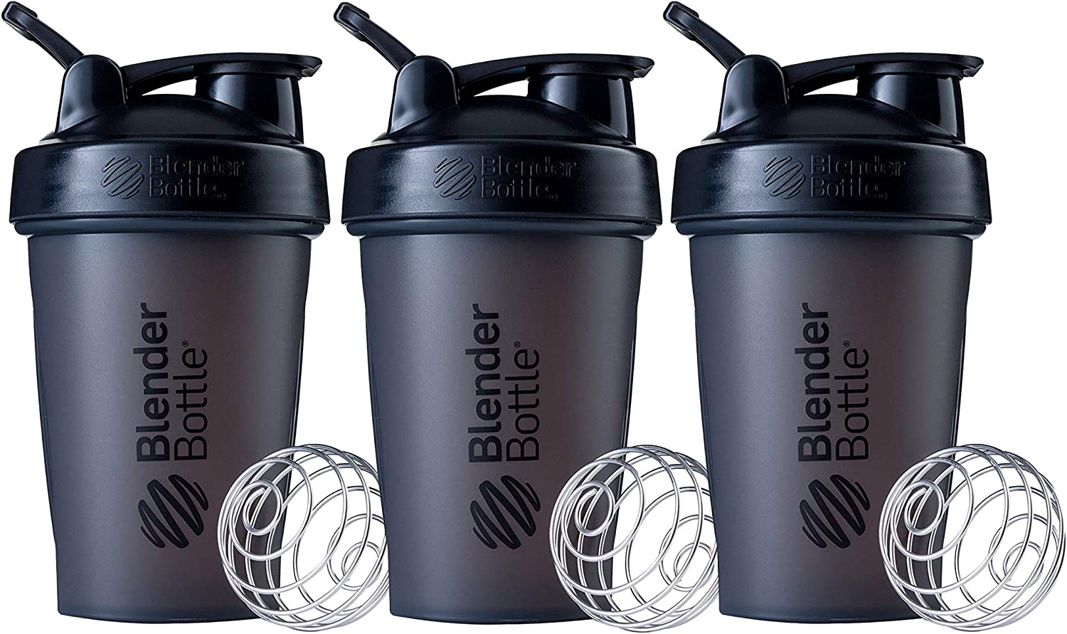 Blender Bottle Classic Loop Top Shaker Bottle, 20-Ounce, 3-Pack, All Black