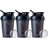 BlenderBottle Classic Shaker Bottle Perfect for Protein Shakes and Pre Workout, 20-Ounce (3 Pack), Black