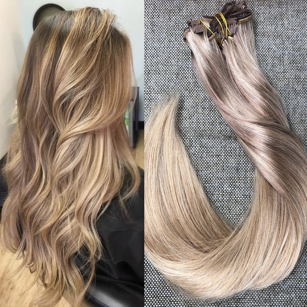 Amazon full shine 14 inch 10pcs 100gram balayage remy human full shine 24 ombre balayage dye pastel clip in hair extensions color 4 fading pmusecretfo Gallery