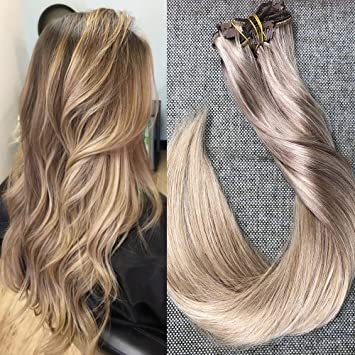 Amazon full shine 24 inch thick hair extensions double full shine 24 inch thick hair extensions double wefted clip in human hair dip dyed balayage pmusecretfo Images