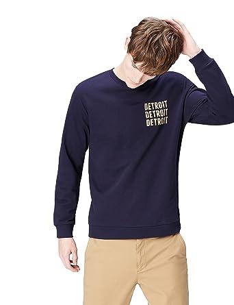 FIND Sweatshirt Herren aus Baumwolle mit Logo, Blau (Navy 001), Small