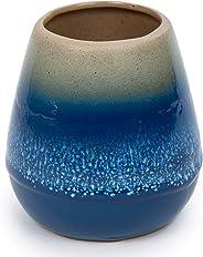 Bodico, Beautifully Glazed Ceramic Tooth Brush Holder, 4 x 4.5 inches, Blue