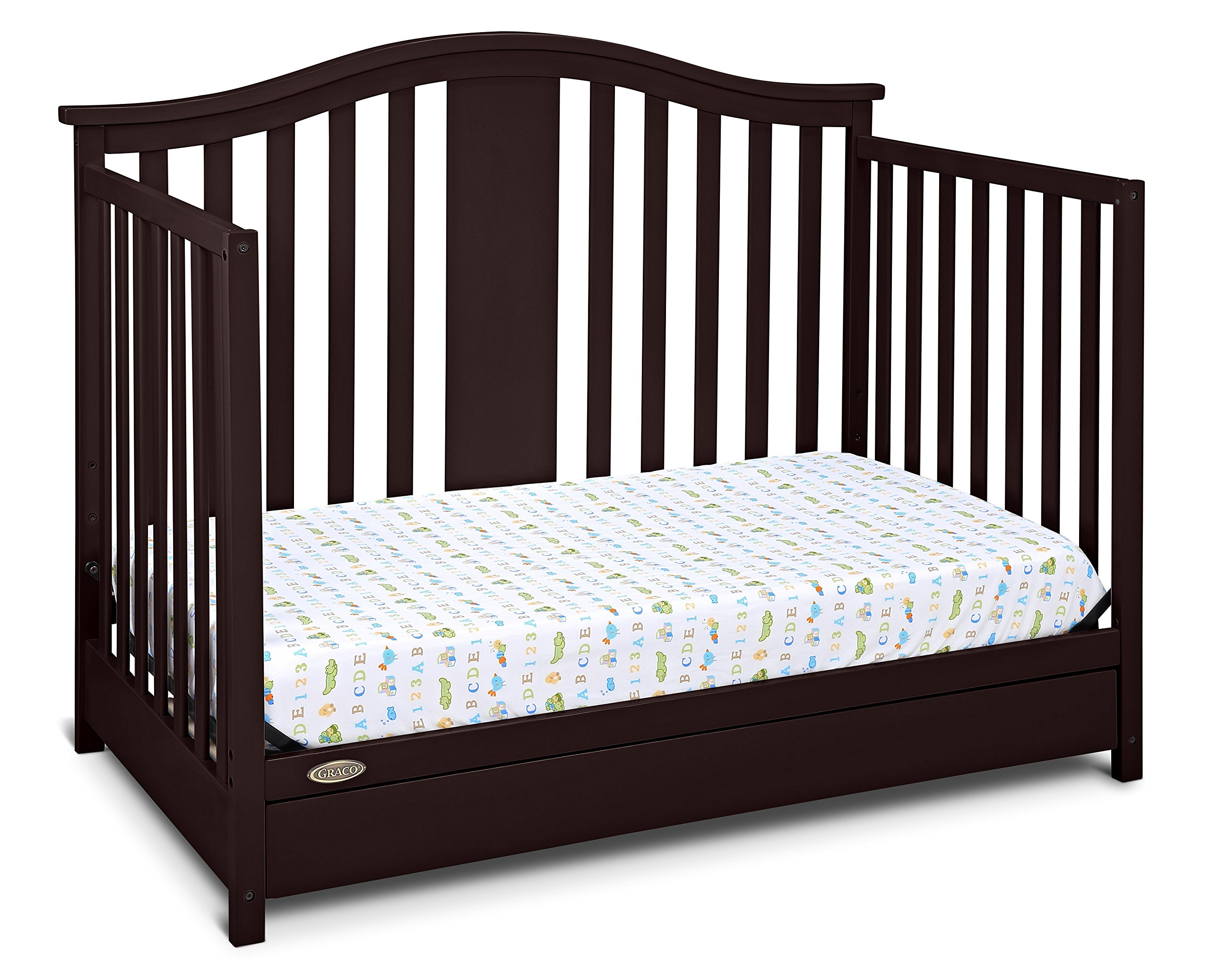 graco solano 4 in 1 convertible crib with drawer espresso 691039536921 ebay. Black Bedroom Furniture Sets. Home Design Ideas