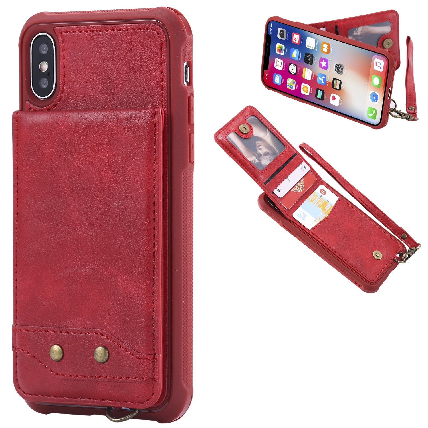 DAMONDY iPhone X Case, Luxury Wallet Purse Card Holders Design Cover Soft Shockproof Bumper Flip Leather Kickstand Magnetic Clasp With Wrist Strap Case for Apple iPhone X (2017)-red