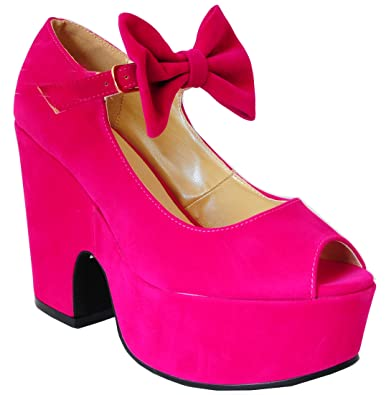 0bf6b3346f Ladies Womens Black, White, Fuchsia Pink Faux Suede Pu Leather Bows Ankle  Strap Chunky
