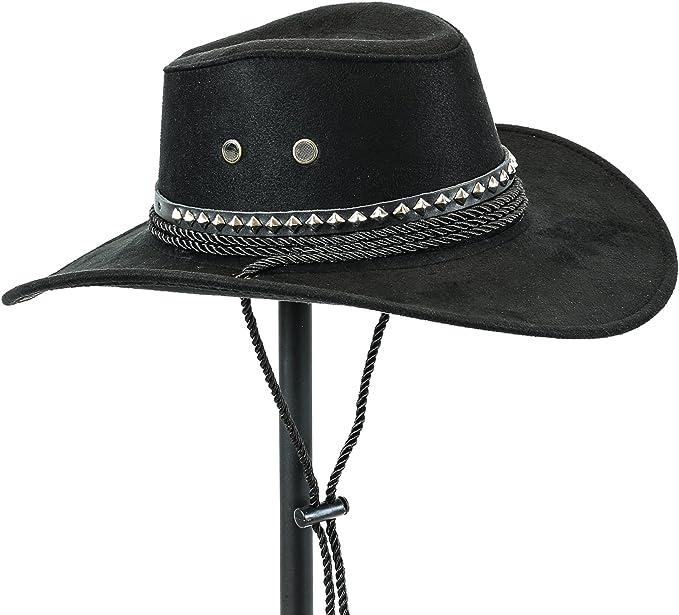 Velvetcrow Western Cowboy Hat Conch Rope Band Wide Brim Cowgirl Jazz Cap Wool Blend