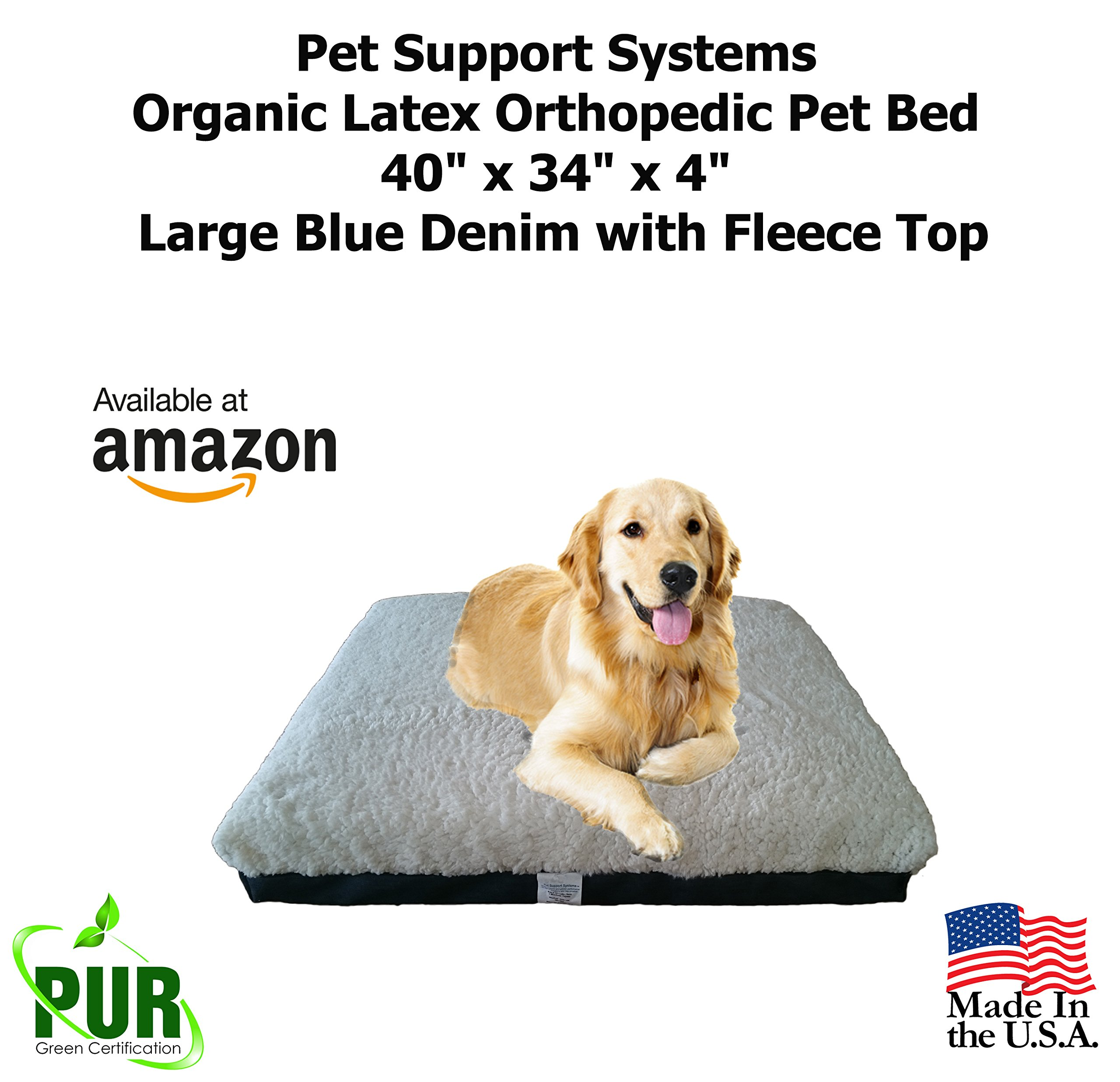 Certified Natural Organic | Large Latex Orthopedic Pet Bed | Large Breed 40'' x 34'' x 4'' Water Resistant Dog Bed | Blue Denim with Fleece Top