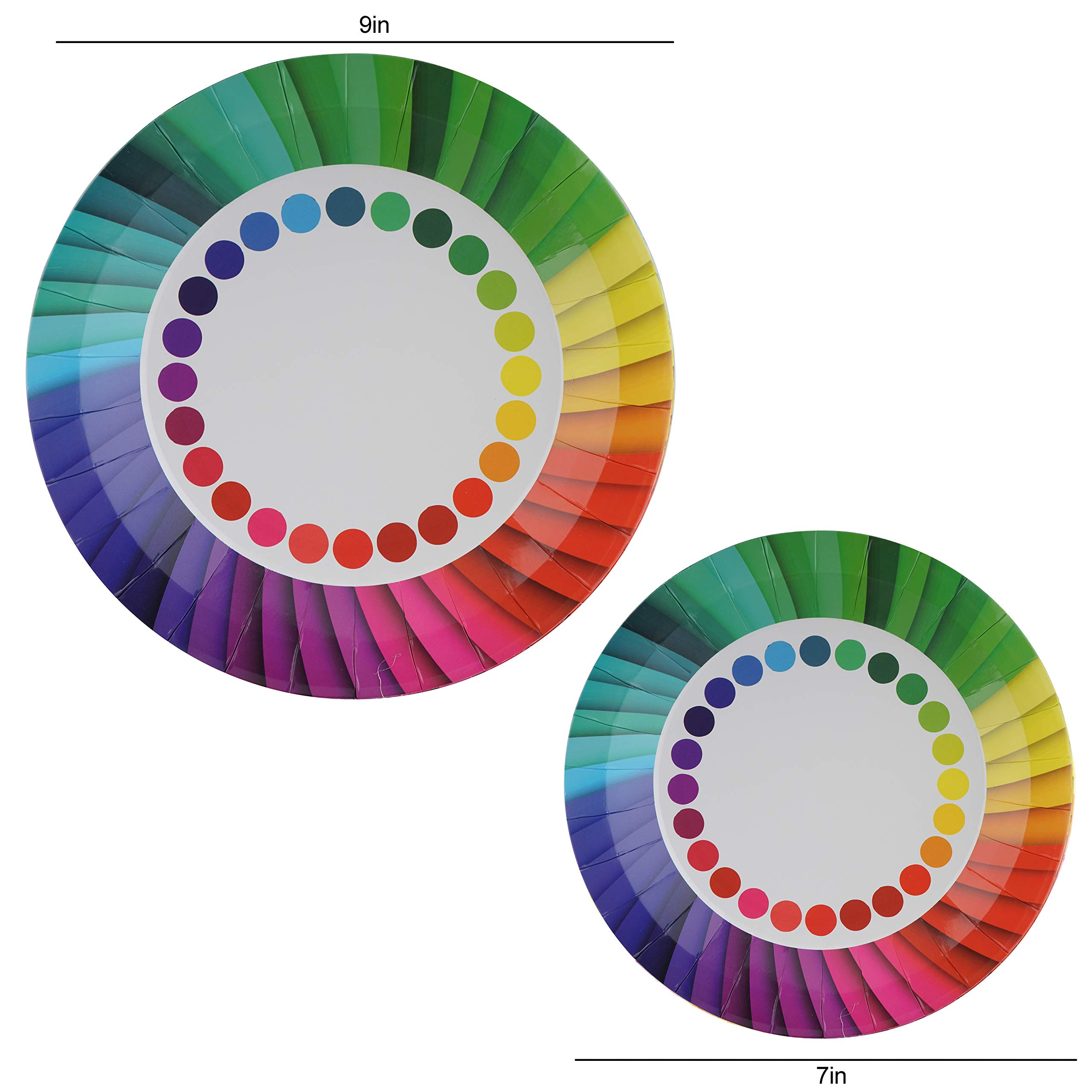 82 Piece Rainbow Party Set Including Banner, Plates, Cups, Napkins and Tablecloth, Serves 20 by Scale Rank (Image #5)