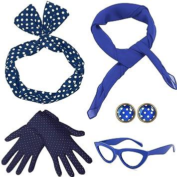 Coucoland 50er Jahre Rockabilly Kostüm Accessoires Damen 1950s Zubehör Set  Inklusive Polka Dots Bandana Haarband Ohrringe