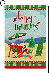 Molili Christmas Happy Holiday Garden Flag,Beach Umbrella Santa Claus Vacation Yard Flag Vertical Double Sized,Burlap Rustic Farmhouse Yard Outdoor Lawn Patio Decor for Xmas Holiday 12.5x18 Inch