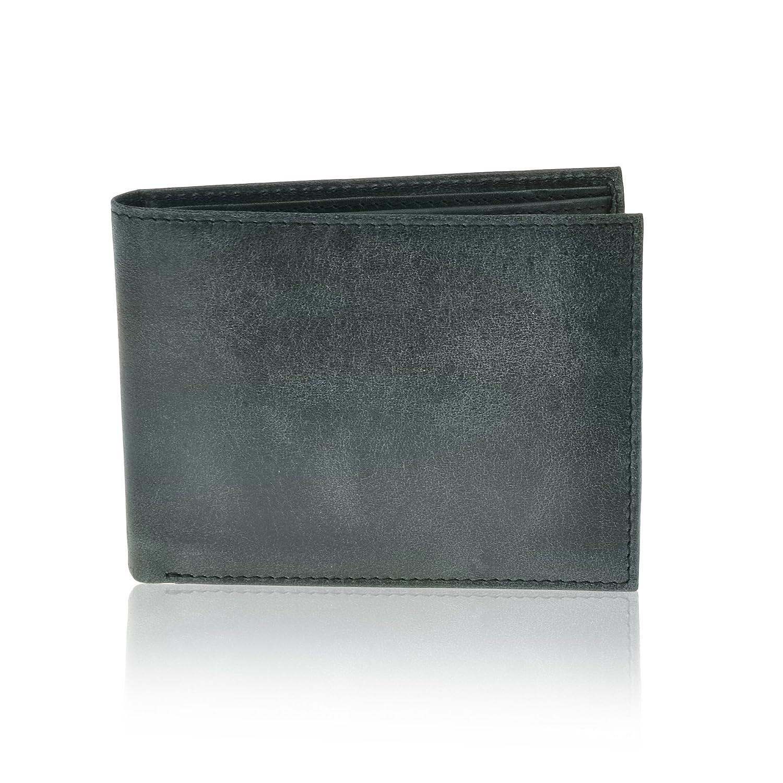 Pavia Mens Leather Bi-fold Slim Wallet RFID