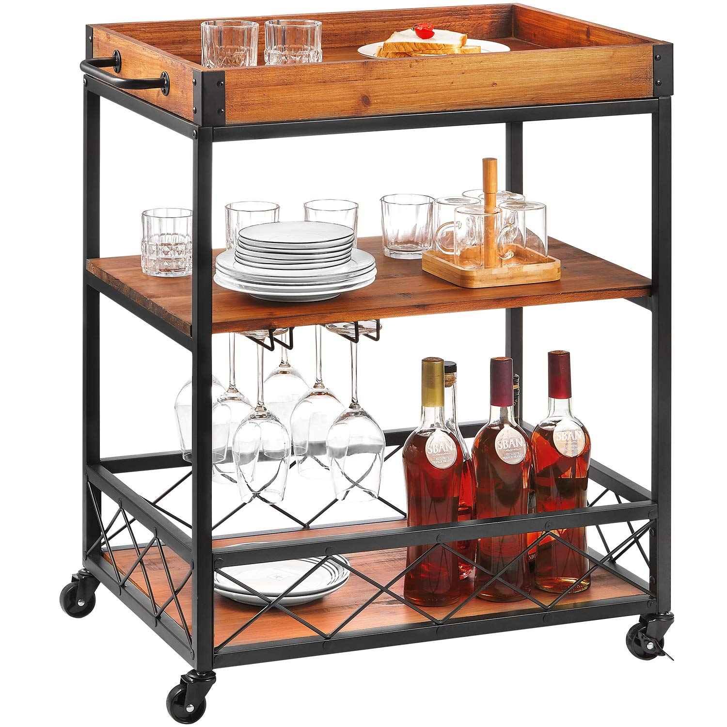 Bar Cart Kealive Kitchen Island Rolling Cart, 3-Tier Storage Shelf with Rack, Bottle Holder, Removable Wood Box Container, Brown 26L x 18W x 32.5in H by kealive