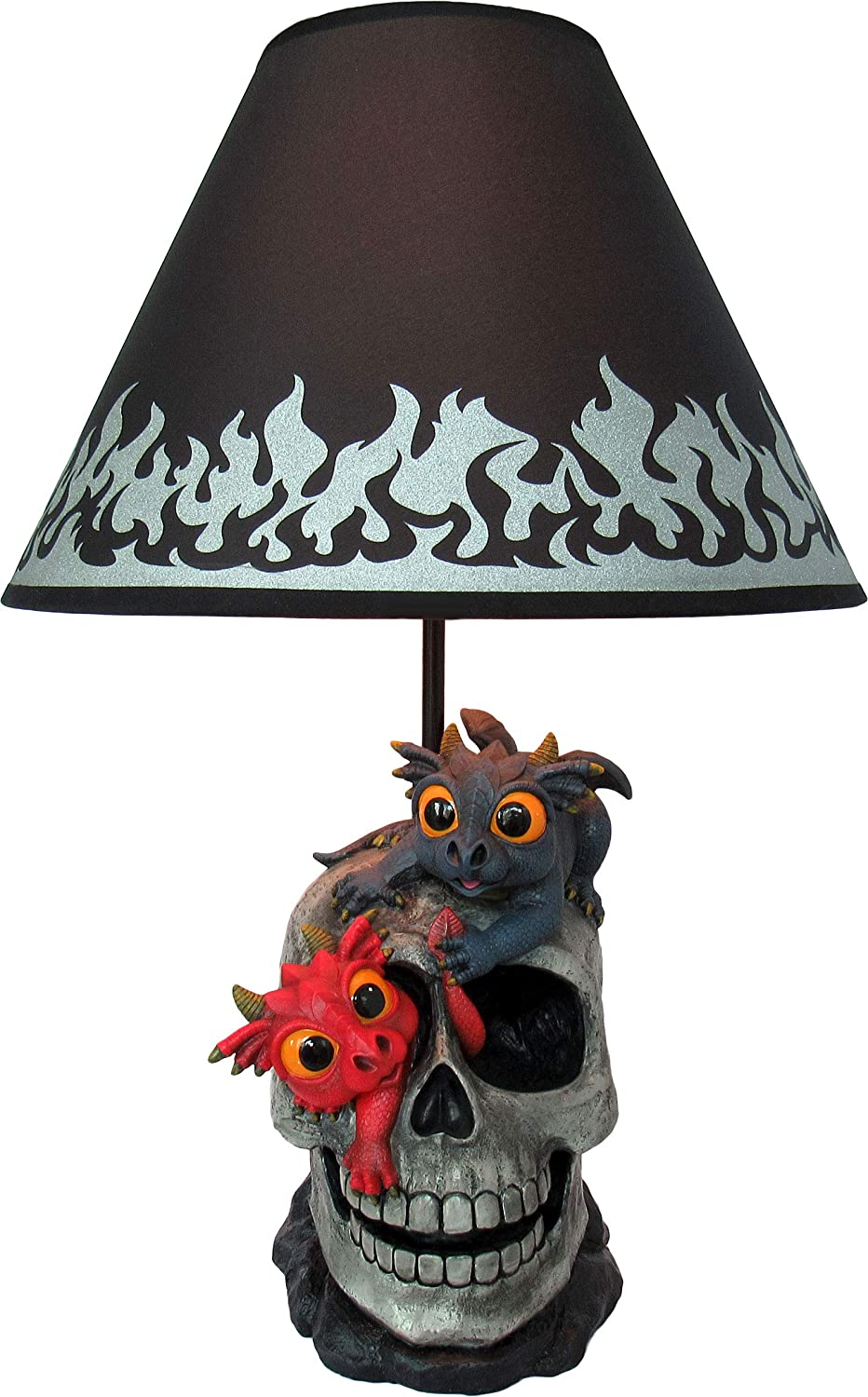 World of Wonders - Dreamland Dragons Series - Mischief & Magic - Collectible Cute Dragon Table Lamp Ruby and Onyx Playing on Medieval Skull Fantasy Home Decor Lighting Accent Desk Light, 20-inch