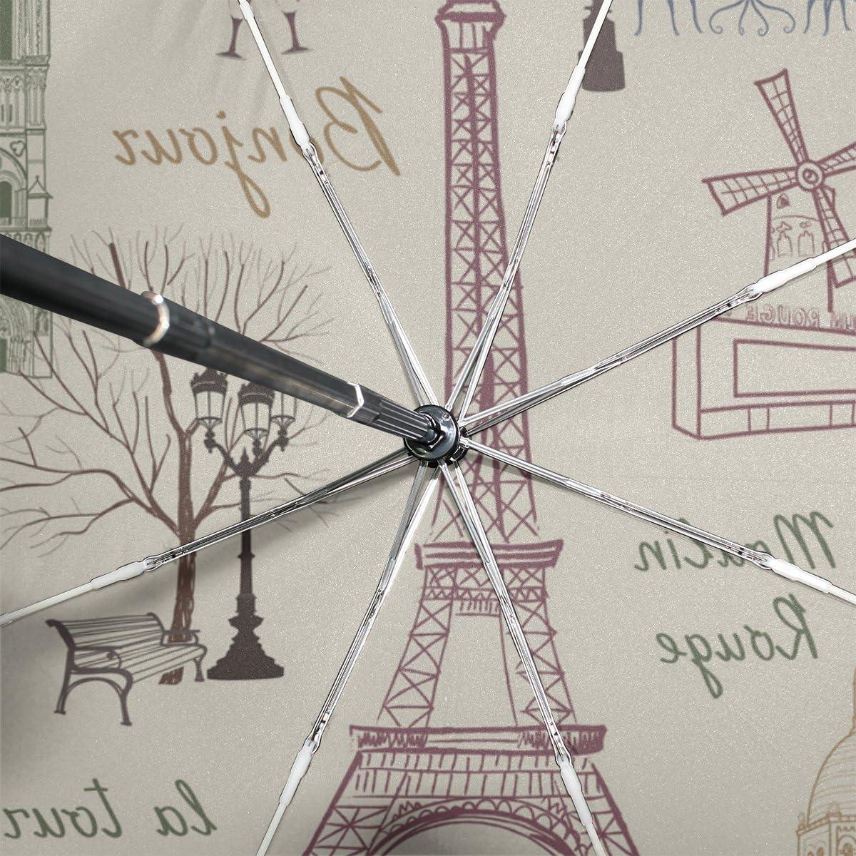 GIOVANIOR Travel Paris Eiffel Tower Landmark Umbrella Double Sided Canopy Auto Open Close Foldable Travel Rain Umbrellas