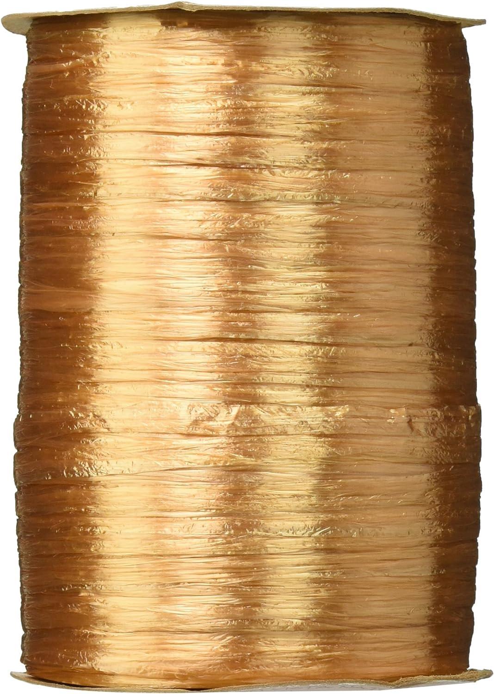 Berwick Offray 1/4'' Wide Pearlized Raffia Ribbon, Gold, 100 Yards