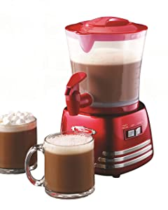 Nostalgia HCM700RETRORED Retro 32-Ounce Hot Chocolate, Milk Frother, Cappuccino,Latte Maker and Dispenser