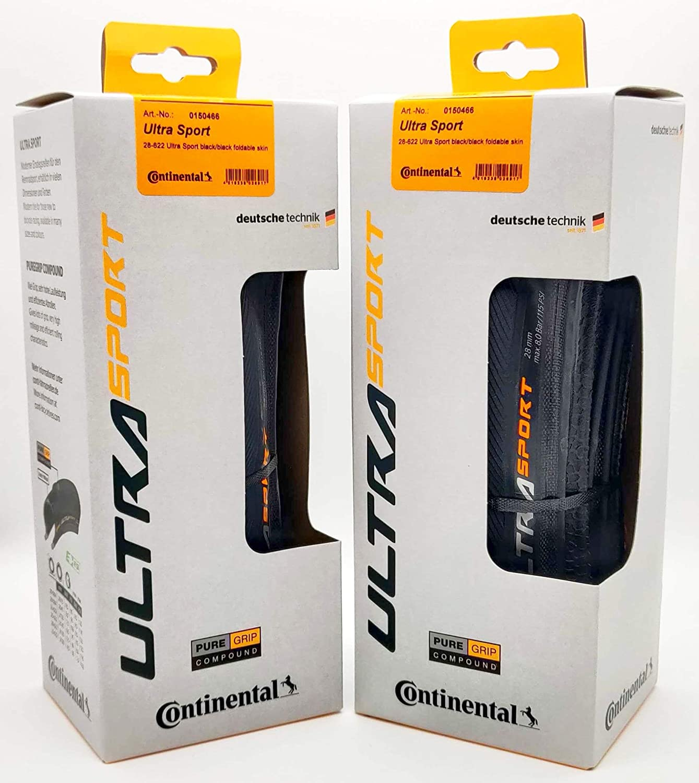 Pair 2 Tires Continental Ultra Sport III 700x28 Black//Black Folding PureGrip